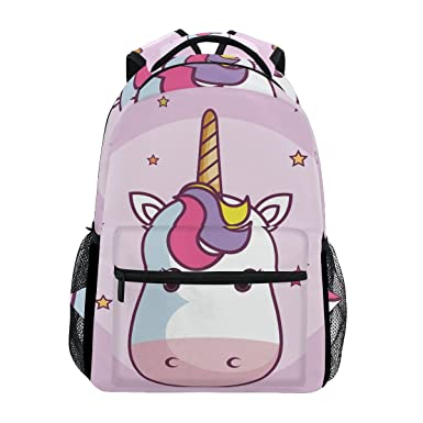 6ea400b841 Image Unavailable. Image not available for. Color  Backpack Travel Cartoon Unicorn  School Bookbags ...