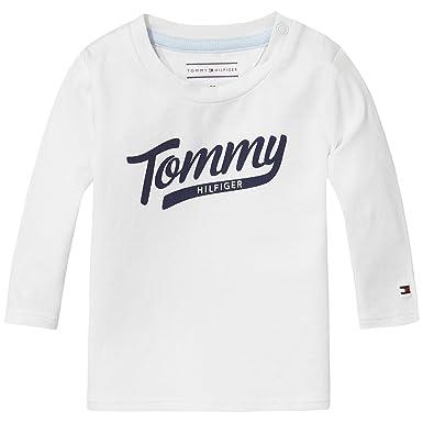 4b179b626 Tommy Hilfiger Unisex Baby Hilfiger Baby Boy Cn Tee L/S Crew Neck Long  Sleeve T - Shirt - White - 0-3 Months: Amazon.co.uk: Clothing