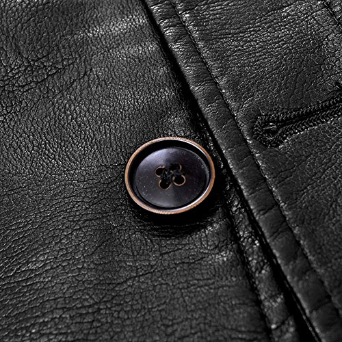 Veste Moxishop Trois noir Boutons F090 Hommes Cuir Blouson Rembourré Chaude Costume D'affaires Classique Blazer Pu Manteau I7rR7nqaxw