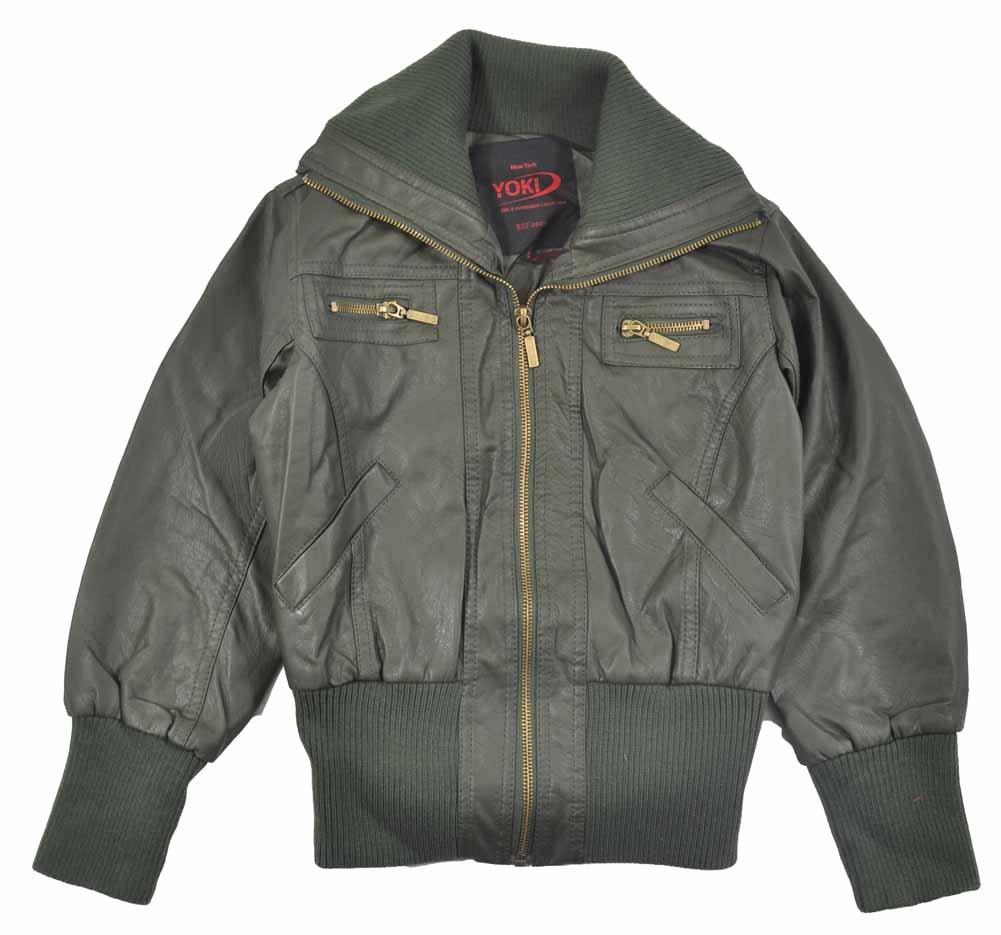 Yoki Little Girls Faux Leather Short Outerwear Jacket (6X, Olive)