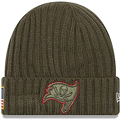 100% Authentic Tampa Bay Buccaneers New Era Olive 2017 Salute To Service Cuffed Knit Hat