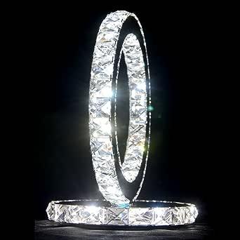 Lámpara de mesa de cristal transparente de acero inoxidable para el dormitorio, lámpara de noche creativa de cristal forma redonda, lámpara de mesa minimalista moderna Lámpara de luz LED blanca para sala de estar