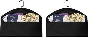 2pcs Hanger Diversion Safe, waterproof Hidden Pocket Safe, Fits Under Hanging Clothes with Pocket to Hide Valuables for Home or Travel (BLACK, A)