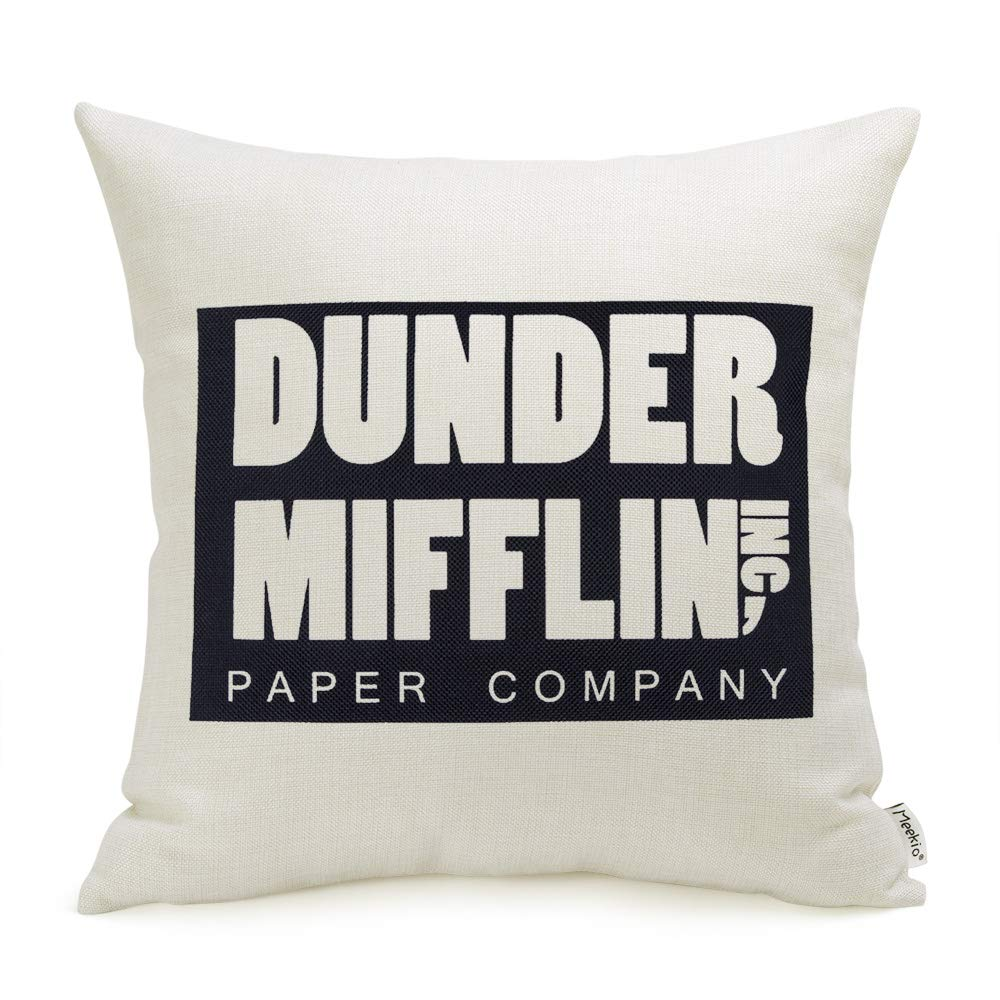 The Office Merchandise Dunder Mifflin Pillow Covers 18 x 18 Inch The Office Gifts for Dwight Schrute Fans