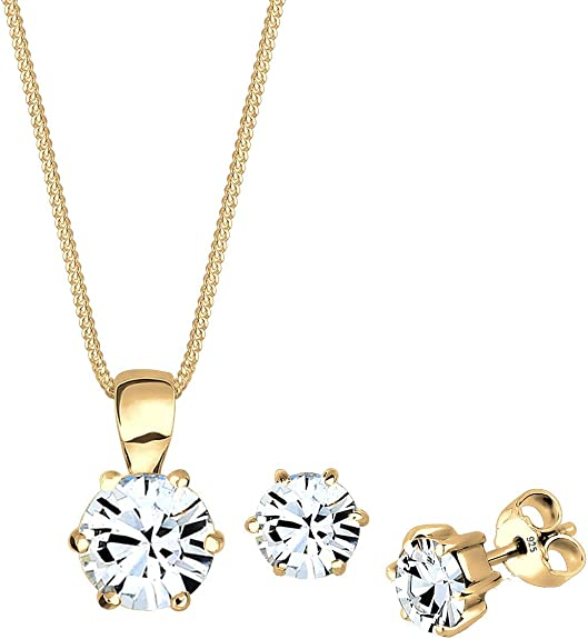 Elli Damen Set Basic Elegant mit Swarovski Kristalle in 925 Sterling Silber vergoldet