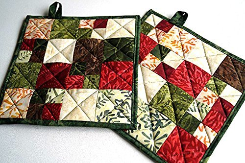 Batik Patchwork Quilted Pot Holders Set in Brown, Green and Red