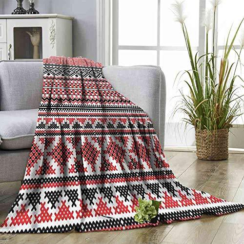 - Big datastore Blanket Aztec,Geometrical Floral Elements Queen Flannel Blanket Size:60