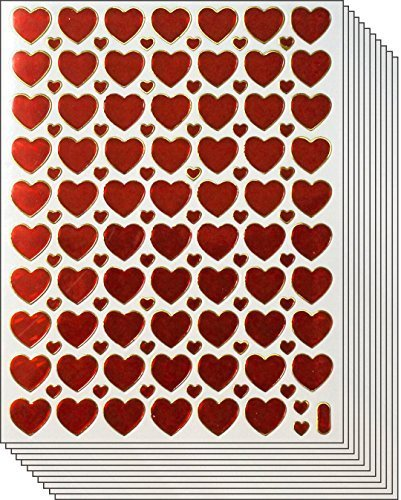 (Jazzstick Valentine's day Red Heart Stickers 10 sheets (VST01A17))
