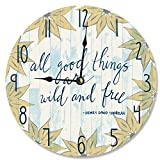 made in usa wood clock - Stupell Home Décor All Good Things are Wild and Free Vanity Clock, 12 x 0.4 x 12, Proudly Made in USA