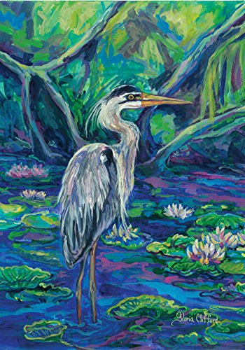 Blue Heron Pond - Toland Home Garden Great Blue Heron 28 x 40 Inch Decorative Colorful Outdoor Pond Bird Lily Flower House Flag
