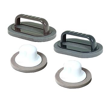 QELEG Suministros de limpieza para cocina, macetas, sartenes, fregaderos - Cepillo de esponja de mango de plástico - azulejo, 2 tamaños, ...