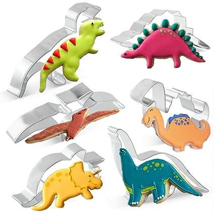 KAISHANE Set de cortadores de Dinosaurio para niños 6 Piezas de Acero Inoxidable Molde de Galletas