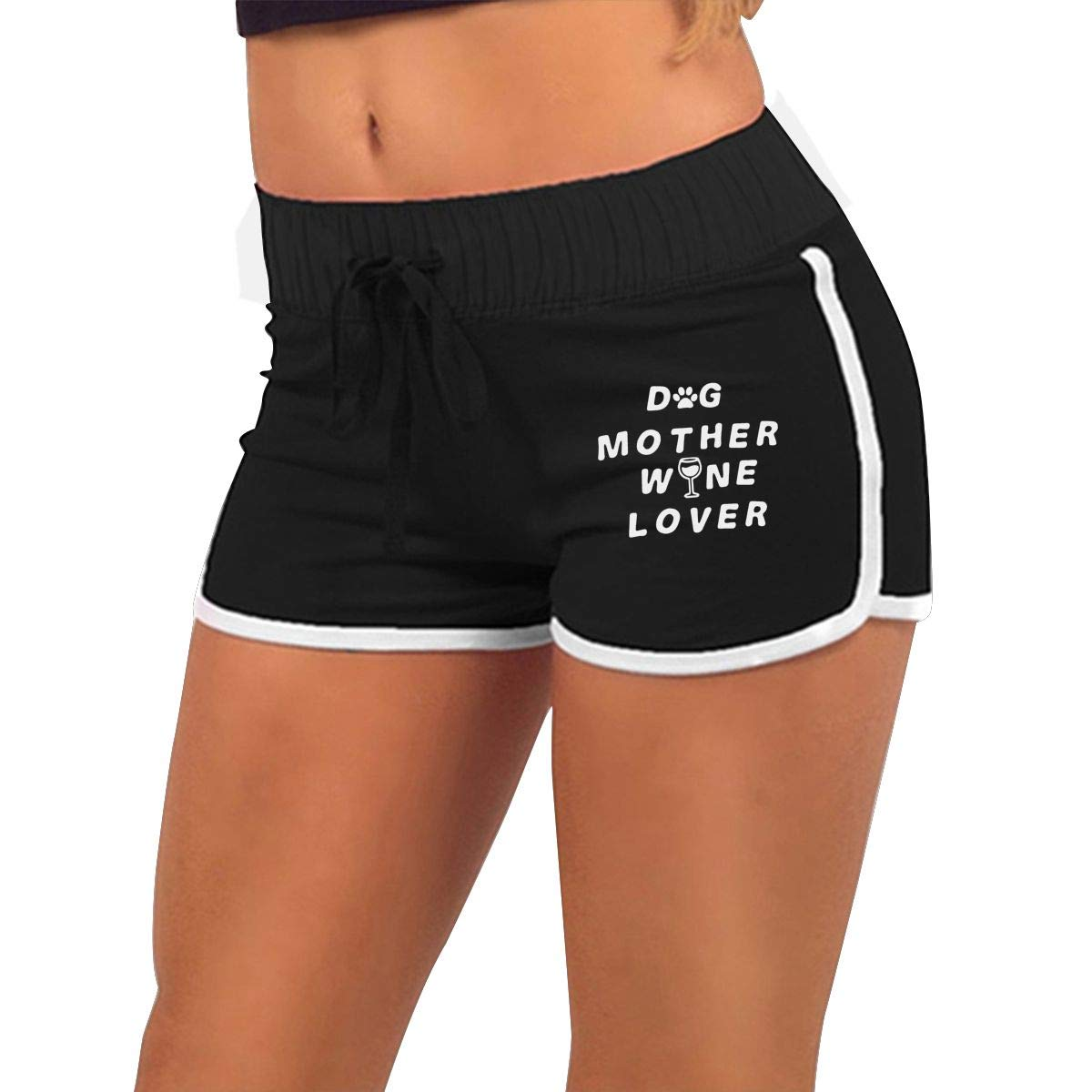 Low Waist Dog Mother Wine Lover Shorts Womens Casual Gym Shorts