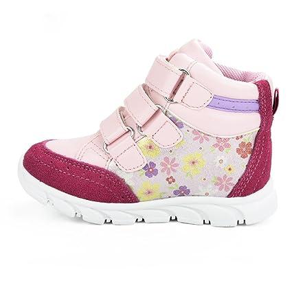 Sunny & Baby – Zapatos de Piel con Tacón para Niña Toddler Fur Sneakers Piel Flores