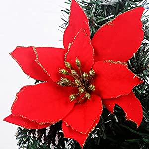 Zabrina 12 Pcs 13cm Christmas Tree Decorative Silk Flower Gold Poinsettia Bush and Red Poinsettia Bush Artificial…