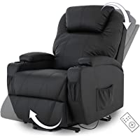 Advwin Electric Lift Recliner Chair for Elderly, Armchair Lounge Sofa Leather Seat Remote Control, Black