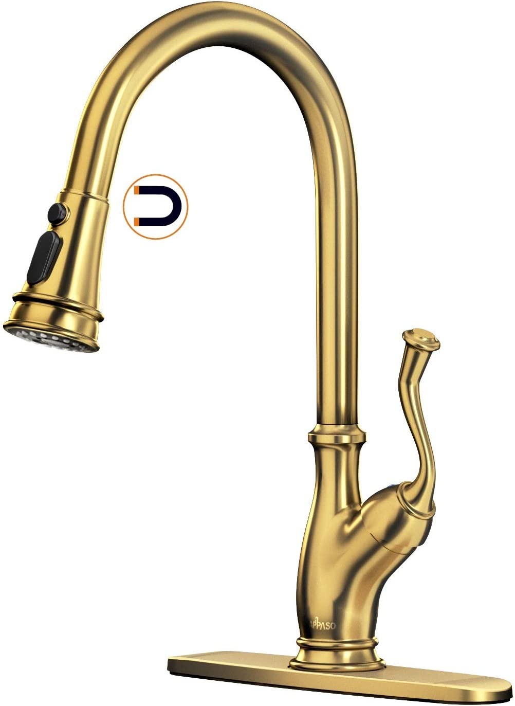 APPASO Brushed Gold Pull Down Kitchen Faucet with Magnetic Docking Sprayer - Solid Brass Single Handle 1 Hole High Arc Pull Out Kitchen Sink Faucets, Champagne Copper, APS175BTG