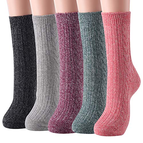 Womens Wool Socks Warm Winter Vintage Knit Boot Crew Socks Pack of 5 (Light)