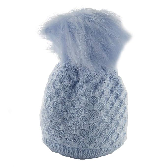 UK Newborn Kids Baby Boy Girl Fur Pom Hat Winter Warm Knit Bobble Beanie Cap