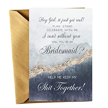 Amazoncom Navy Be My Bridesmaid Cards With Gold Envelopes Set