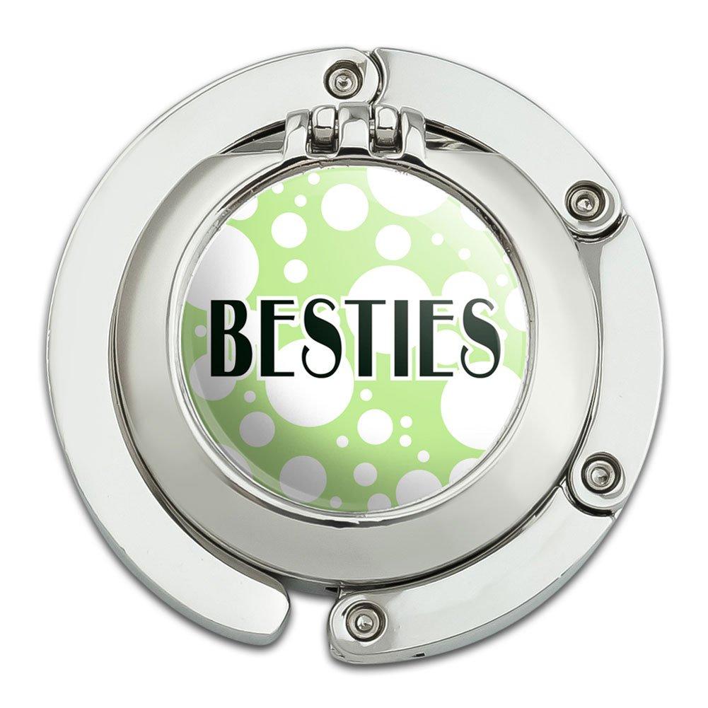 Besties Best Friends Foldable Table Bag Purse Caddy Handbag Hanger Holder Hook with Folding Compact Mirror