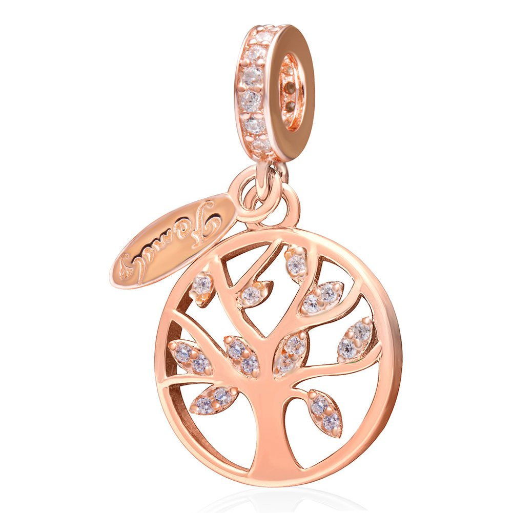 SoulBeads Family Tree of Life Charms 925 Sterling Silver Dangling Bead Charm with CZ for Charms Bracelet (Rose Gold)