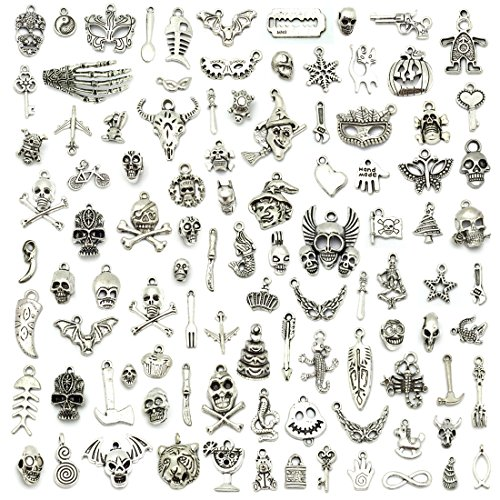JIALEEY Wholesale Bulk Lots Hallowmas Skull Skeleton Charms Mixed Silver Plated Halloween Mask Charms Pendants DIY for Jewelry Making and Crafting, 100 PCS Hallowmas Style -