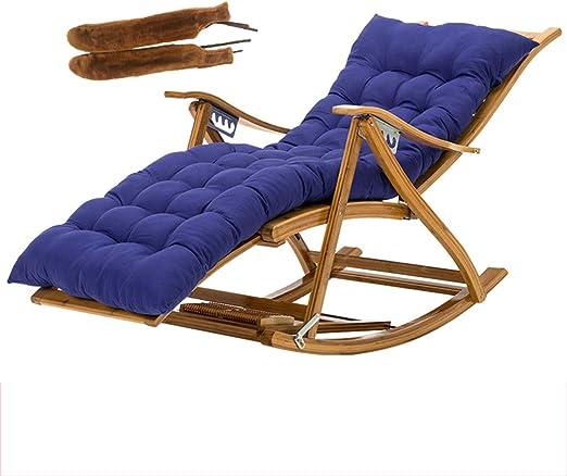 LWG - Sillas Silla de jardín reclinable Silla Tumbona Ajustable Plegable extraíble Tumbona con cojín de algodón y reposabrazos Cubierta para Pesca al Aire Libre (Azul: Amazon.es: Hogar