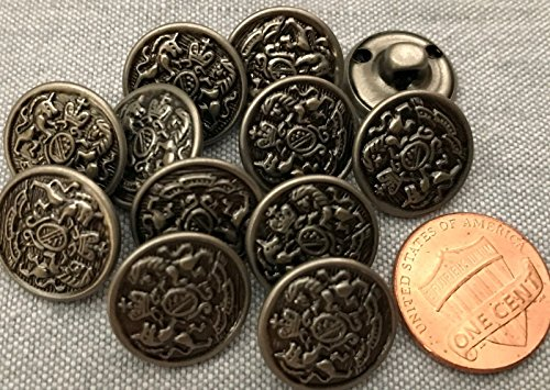 "ShopForAllYou Buttons Craft Sewing 12 Hollow Silver Tone Metal Shank Buttons Crown Shield Almost 5/8"" 15.3mm # 8254"