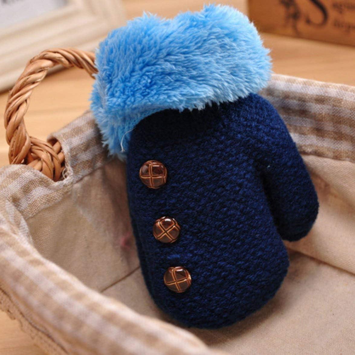 Kinder warme Handschuhe Jungen und M/ädchen Handschuhe Baby All Cover Finger Handschuhe Winterhandschuhe Double Thickened Buttons Dekoration dunkelblau