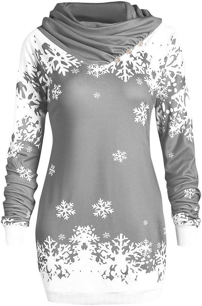 MRULIC Damen Frohe Weihnachten Kapuzenpullover Schneeflocke Drucken Strickpullover Crewl Neck Bluse Tunika Tops Oberteil Langarm Sweatshirt
