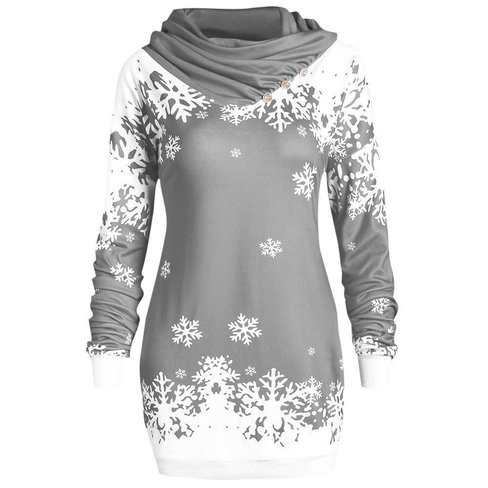 Inverlee Women Merry Christmas Snowflake Printed Tops Cowl Neck Sweatshirt Blouse