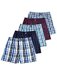 Ryan Boys Boxer Shorts, 5-Pack, 100% Woven Combed Cotton, Encased Waistband, Plaid
