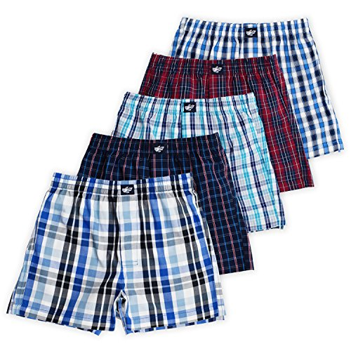 Ryan Boys Boxer Shorts, 5-Pack, 100% Woven Combed Cotton, Encased Waistband, Plaid Chico, 9/10 - Lucky Boxer Shorts