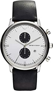 Emporio Armani Classic Men's Silver Dial Leather Band Watch - Ar0385, Black Band, Analog Display