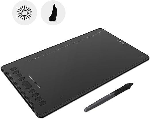 HUION H1161 ドローイングタブレット バッテリーフリー グラフィックスタブレット 11x6.875インチ 832レベル 圧力感度 傾きサポート 10個のプレスキー 16個のソフトキー タッチストリップ グローブ付属