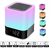 Altoparlante Suono Bluetooth Lampada da Comodino Controllo Touch Dimmerabile con LED da Tavolo Cambia Multi-colore Notte, Tutto in 1 Sveglia, Lettore MP3, Chiamate Vivavoce