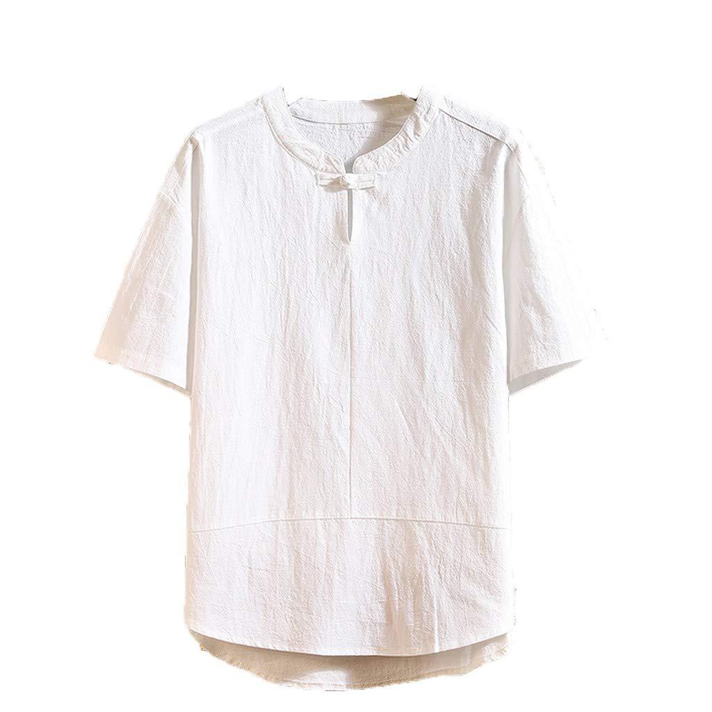 Men Summer Linen Shirt Short Sleeve Casual Fashion Solid Color Top Blouse (L, White)