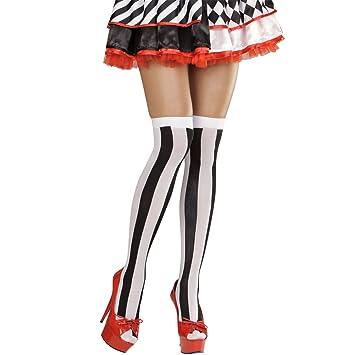 Pantis sexys mujer calcetines largos de rayas negro-blanco Medias altas para mujer arlequín Accesorios