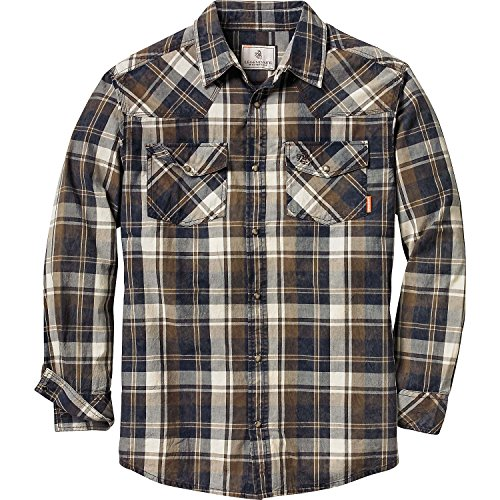Tall Western Shirts (Legendary Whitetails Men's Outlaw Western Long Sleeve Shirt (XX-Large Tall, Creekbed Brown Plaid))