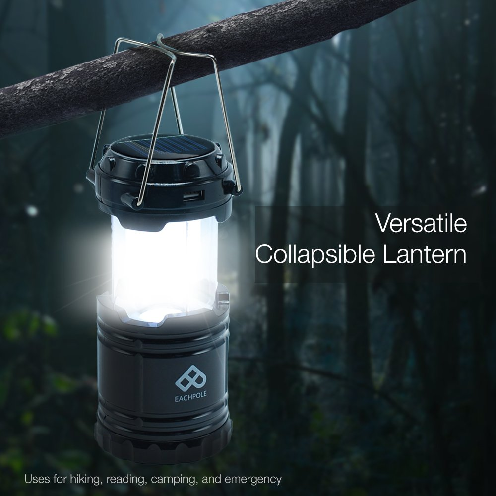 Eachpole 3 Pack Outdoor Camping Led Lantern With Solar Charging Versatile Emergency Lamp Dual Power Supply Built In Bank Apl1565