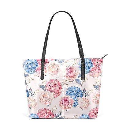 Amazon.com: Moda rosa y Hydrangea Bolsos Bolso de piel ...