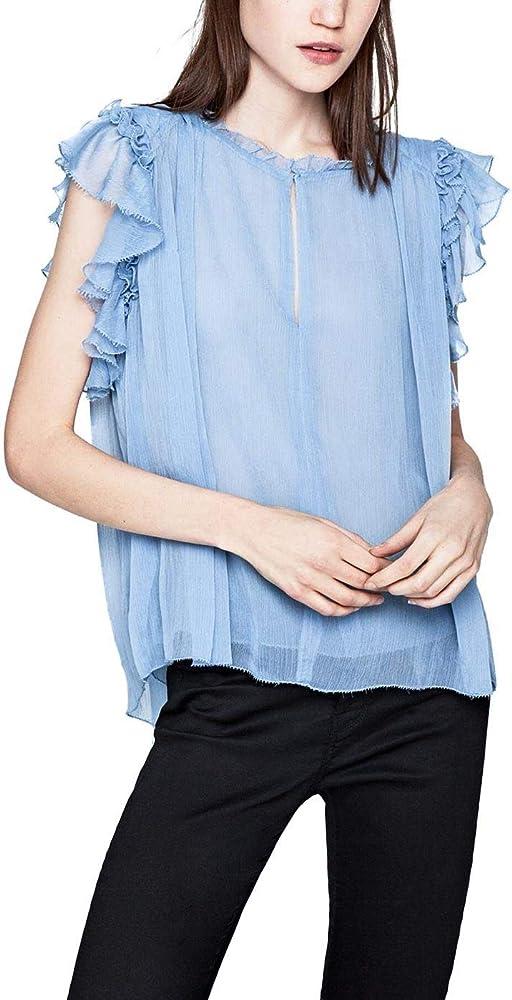 Pepe Jeans Naomi Azul Blusa Mujer Large Azul: Amazon.es: Ropa y accesorios
