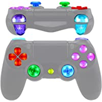 eXtremeRate Multi-Colors Luminated D-pad Thumbstick Trigger Home Face Buttons, DTFS (DTF 2.0) LED Kit for PS4 Slim PS4…