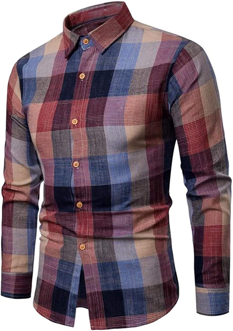 XiaoTianXinMen XTX Mens Casual Long Sleeve Slim Color Block Button Up Plaid Dress Shirts