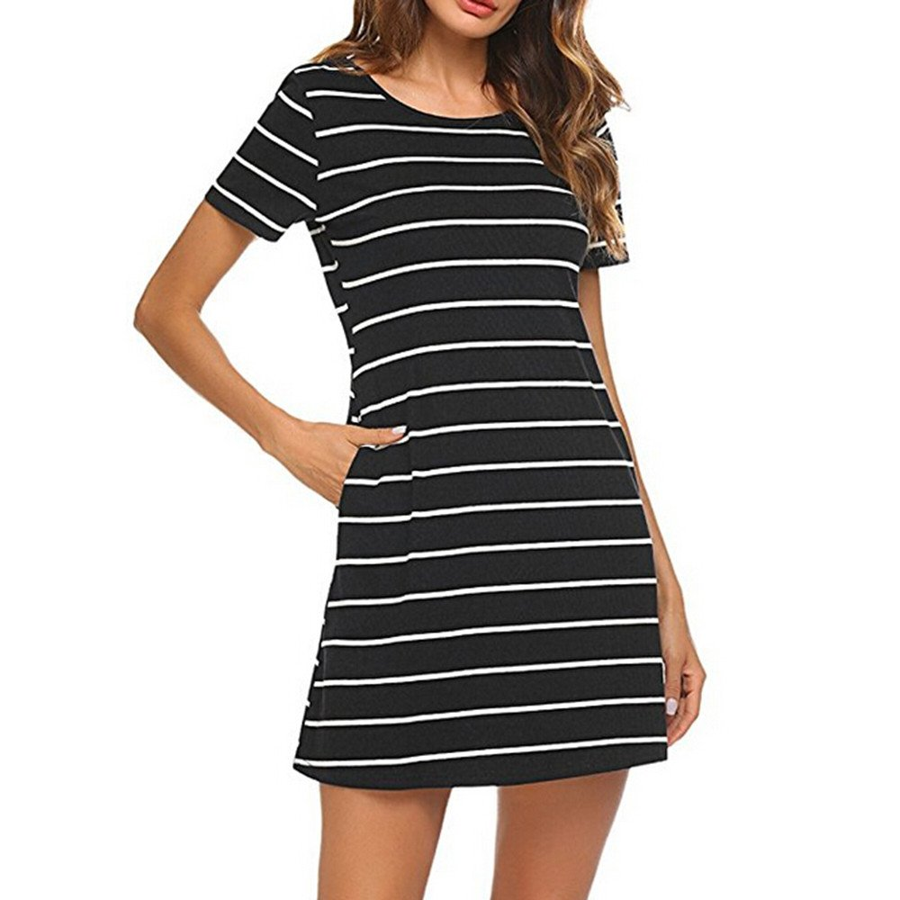 Colouredays Short Sleeve Striped Backless Women Casual Striped CrossT Shirt Dress Pockets Skirt Holiday Loose Cosy Cotton