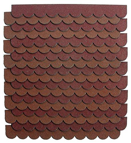 1,2m²-3-Sets Mini Dachschindeln,braun,Dachpappe,Briefkasten,Vogelhäuser,Sandkastenüberdachung,Abdeckung,Bastlersatz,Biberschwanz,