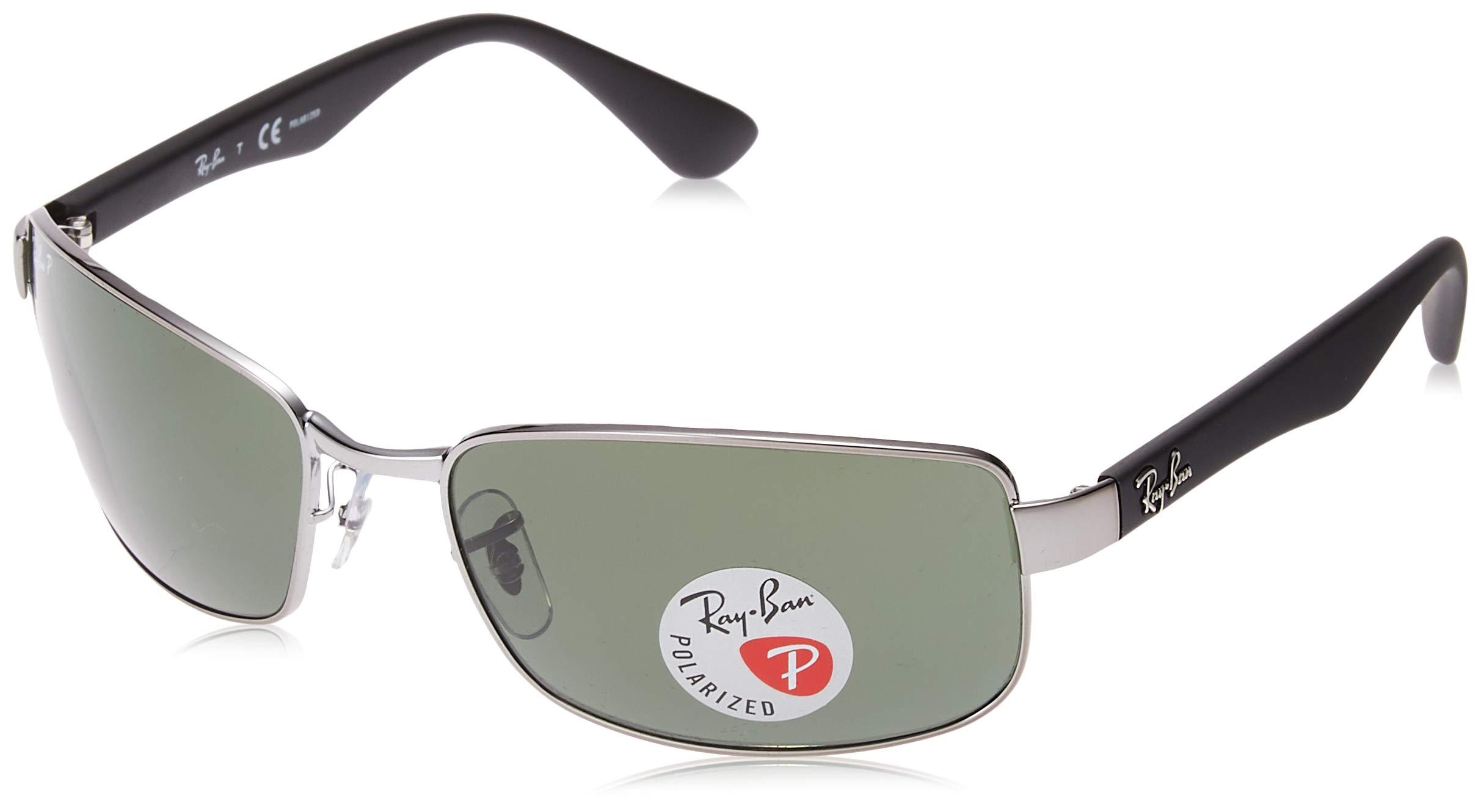 RAY-BAN RB3478 Polarized Rectangular Sunglasses, Gunmetal/Polarized Green, 60 mm by RAY-BAN