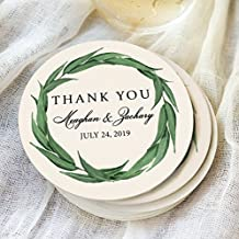 Wedding Coasters, Thank You Favors Personalized Names & Wedding Date Greenery Wreath Design Coaster for Wedding Drinks Bar