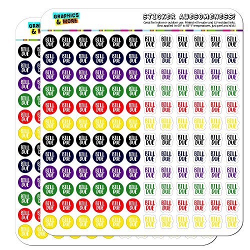 Bill Sticker - Bill Due Dots Planner Calendar Scrapbooking Crafting Stickers - Multi Color - Opaque